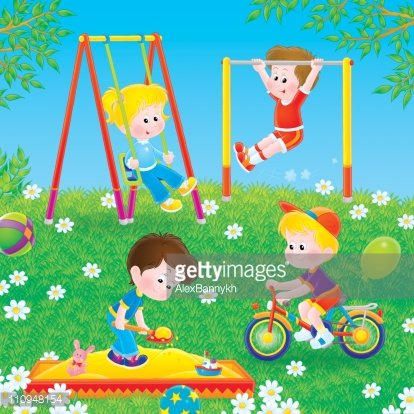 Children playing in a playground Clipart Image.