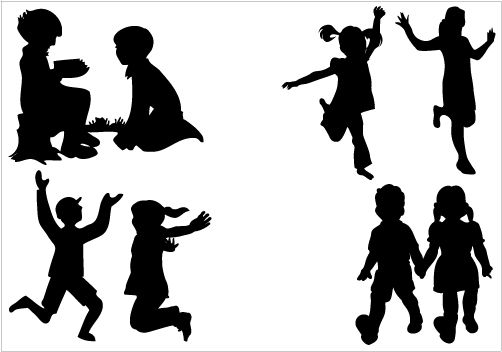 Children Silhouette Vector Graphics.