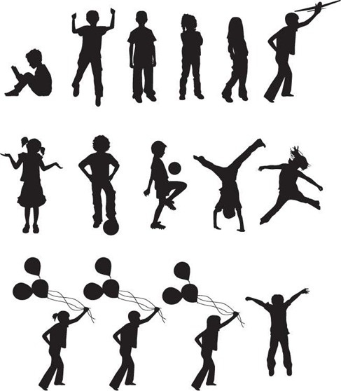 Free Vector Children Silhouettes Free vector in Encapsulated.