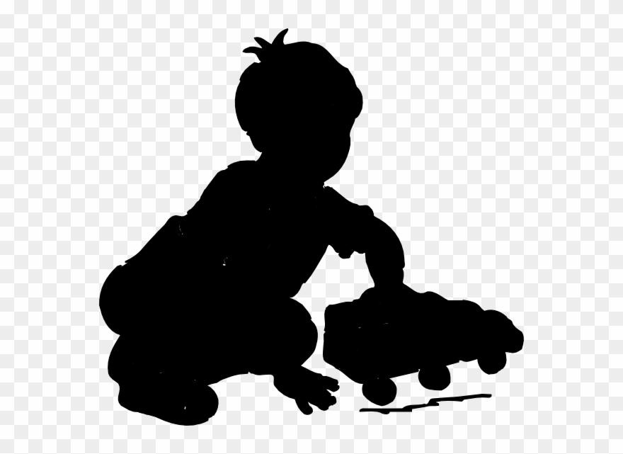 Boy Playing Silhouette Clip Art.
