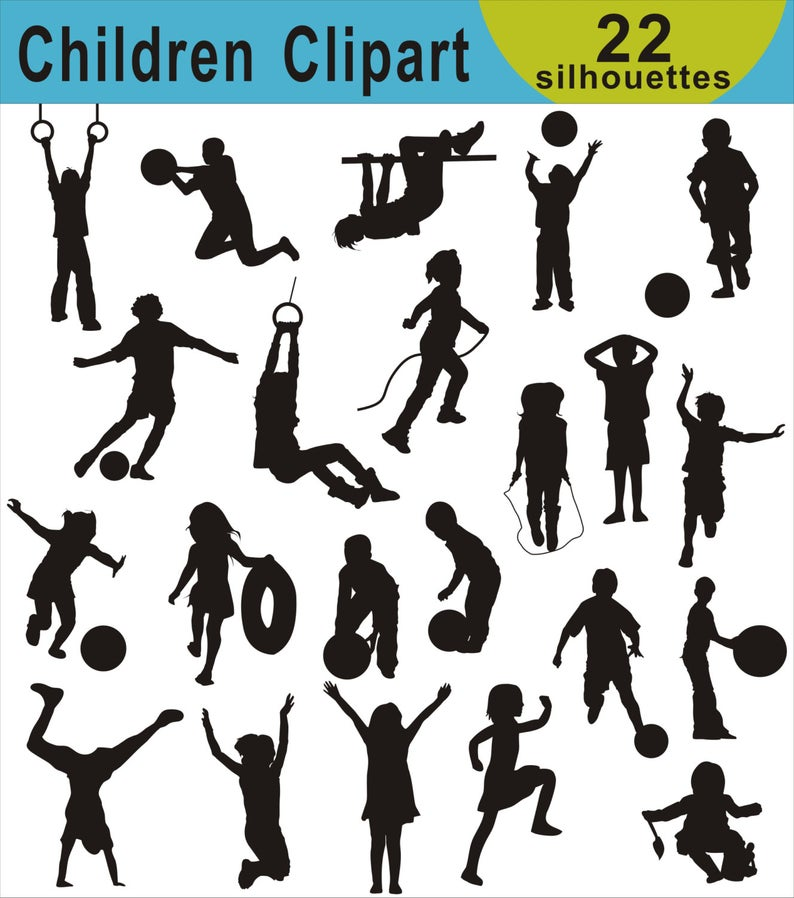 Children Clip Art, Kids Silhouette Clipart, Children Silhouette Images,  Girls Boys, Commercial Use, Child Playing Clip Art, Sports Clipart.