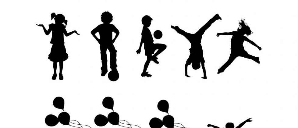 Silhouettes set containing 15 children playing and having fun, it's.