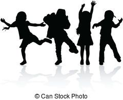 Vectors Illustration of children playing silhouettes.