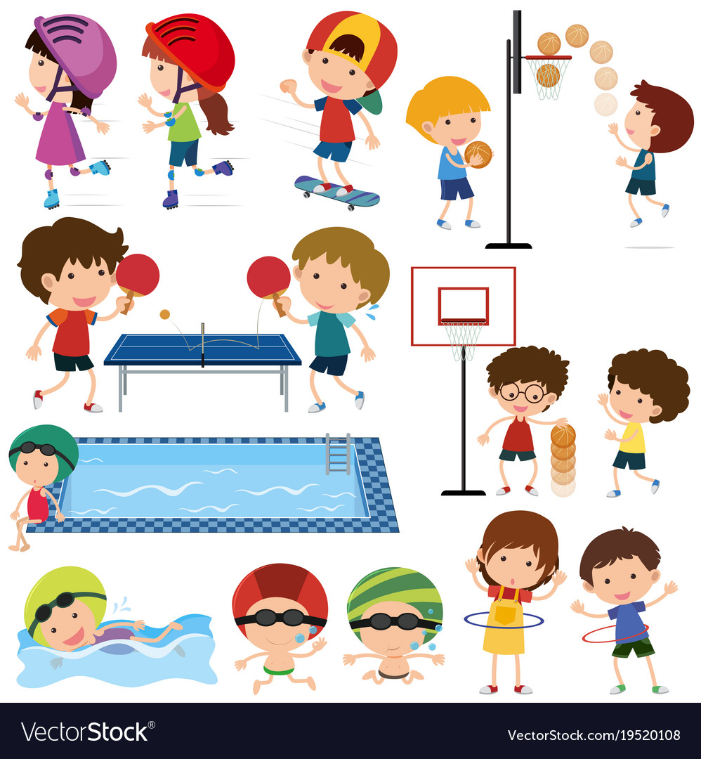 Many children playing different sports.