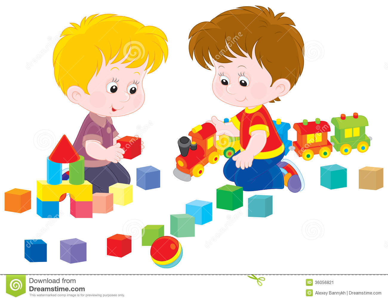 Children Playing with Toys Clipart.