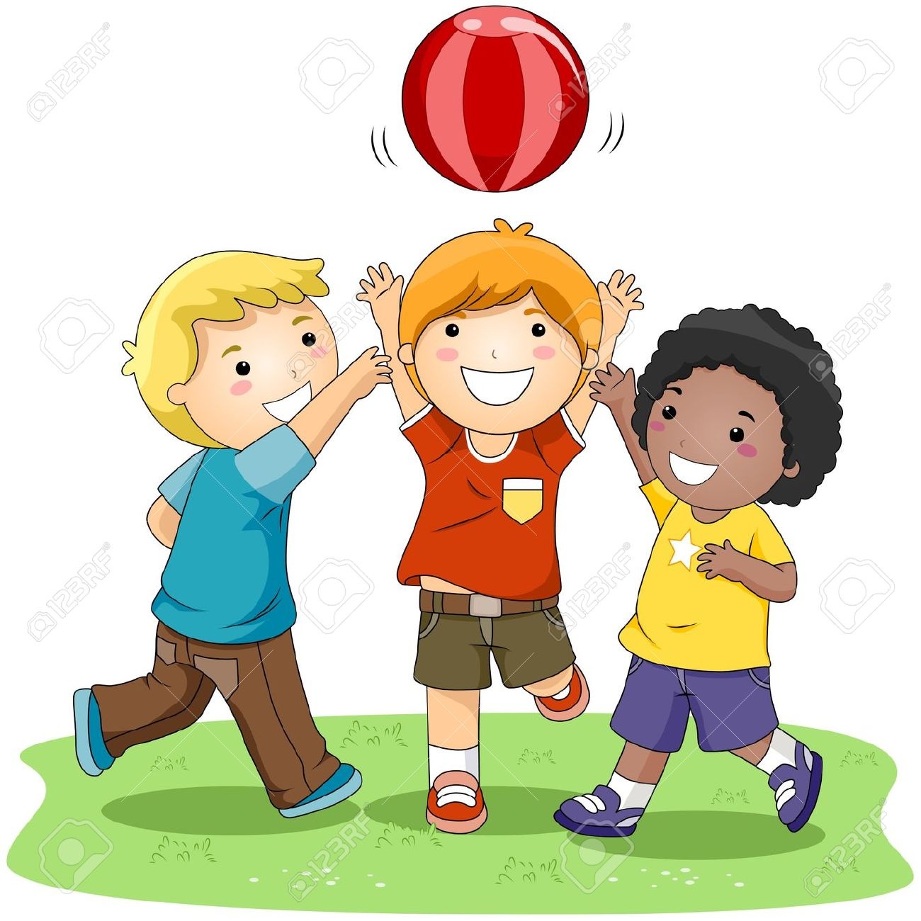 Kids Playing Together Clipart.