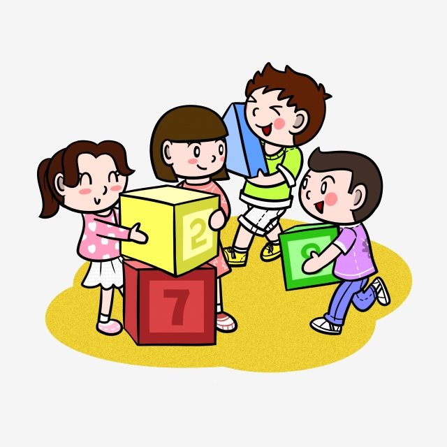 Cartoon Children Playing With Building Blocks Png Transparent Bottom.