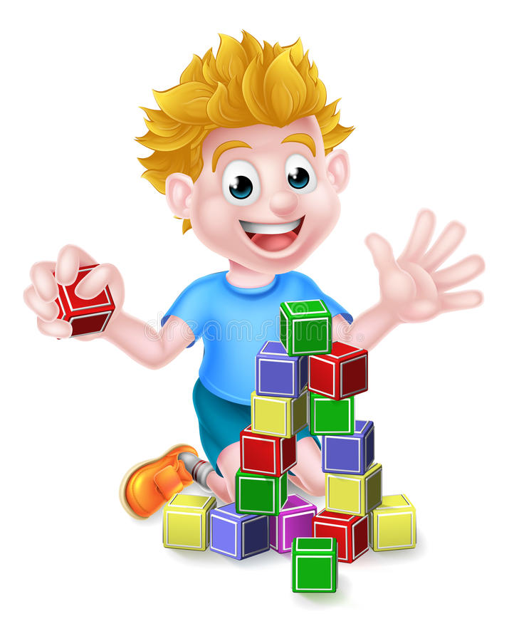 Boy Playing With Building Blocks Stock Vector.