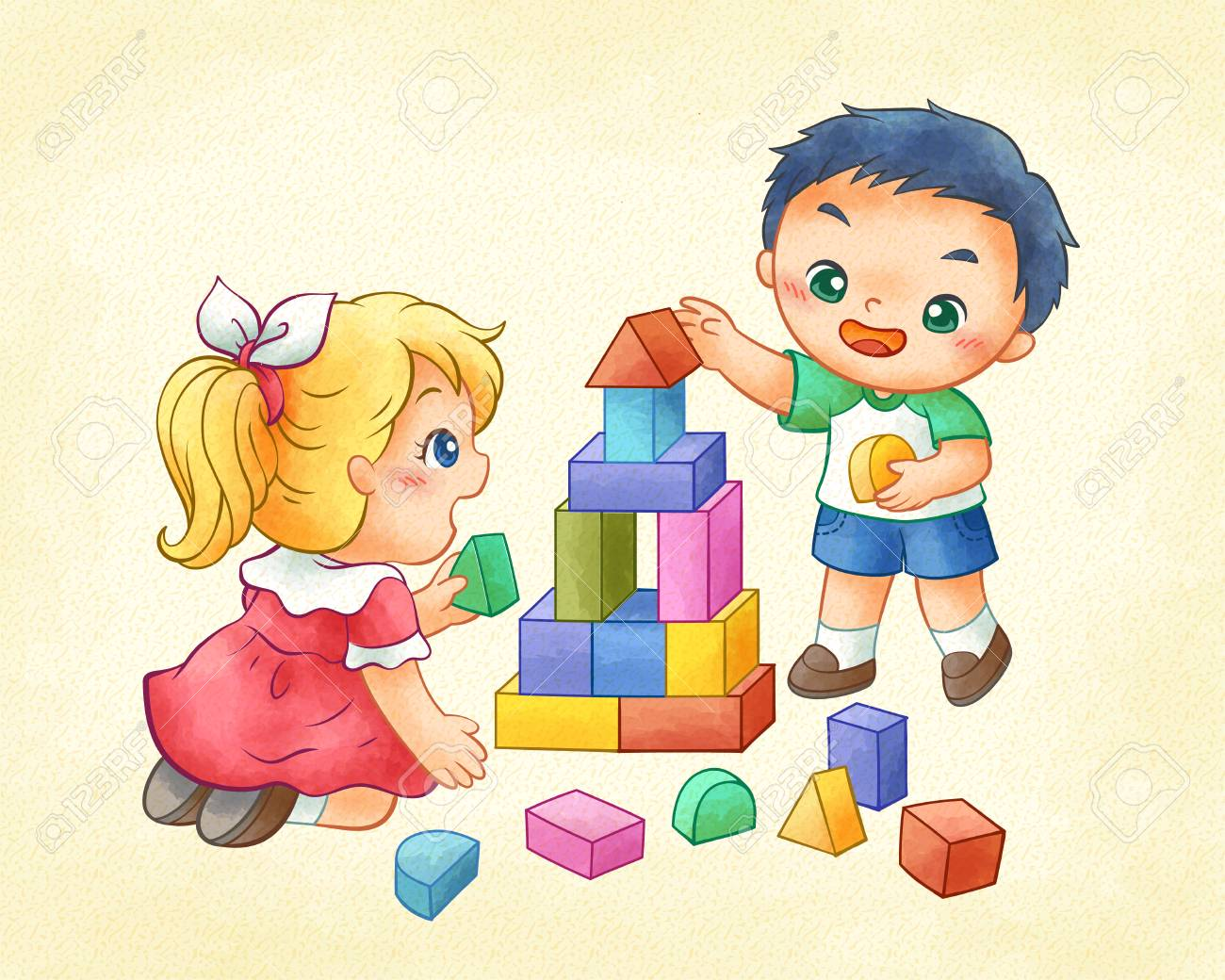 Cute children playing colorful building blocks in line art.