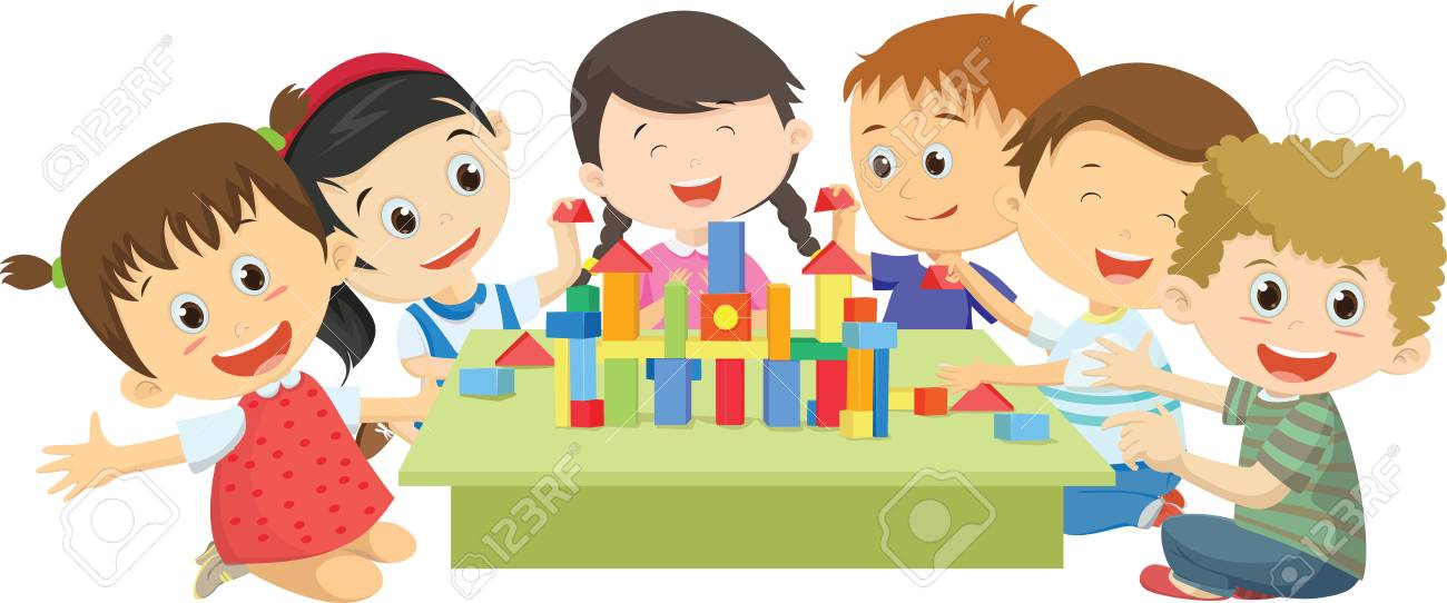 Happy children playing together with blocks.