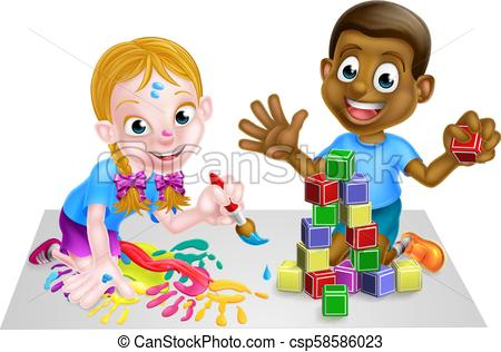 Children Playing with Blocks and Painting.