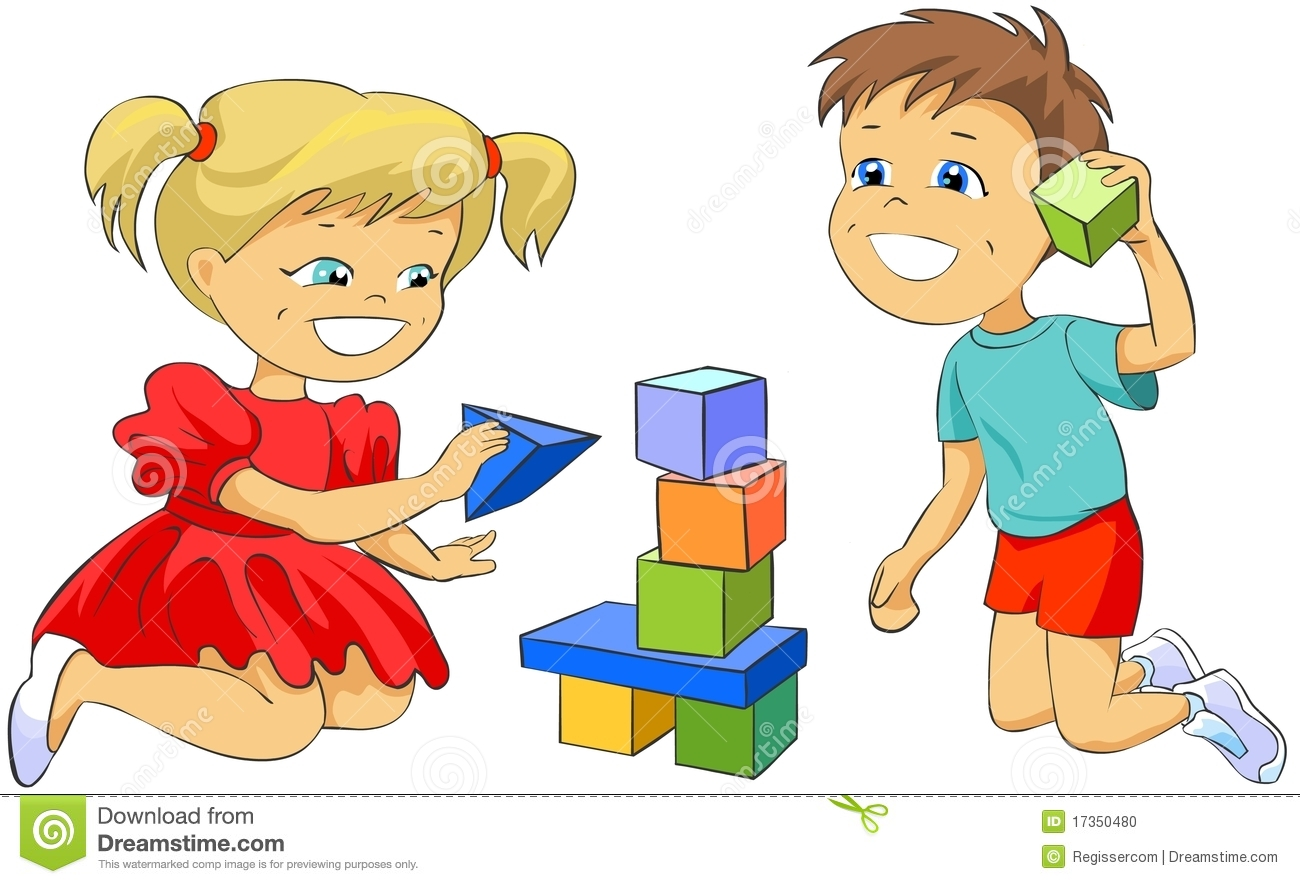Children Playing With Toy Blocks. Stock Illustration.