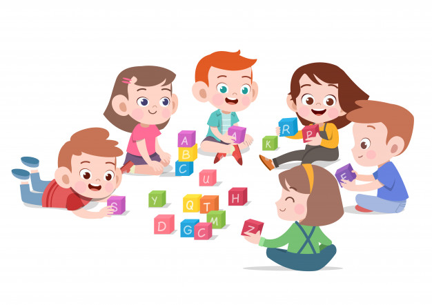 Kids children playing with blocks toys illustration Vector.