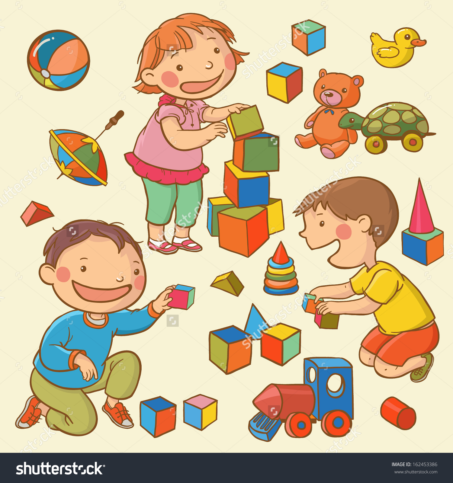 Clipart Kids Playing With Toys.