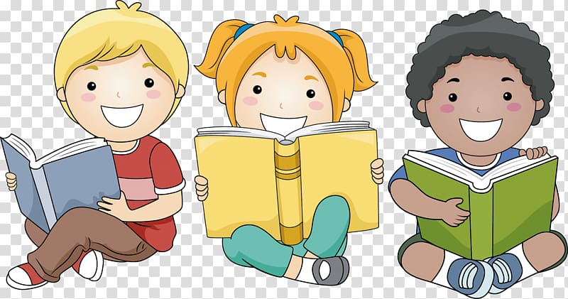 Child Reading Book , happy reading transparent background PNG.