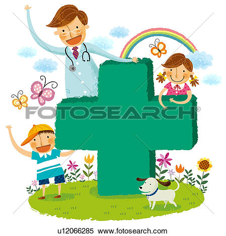 Stock Illustration of Portrait of doctor and two children with.