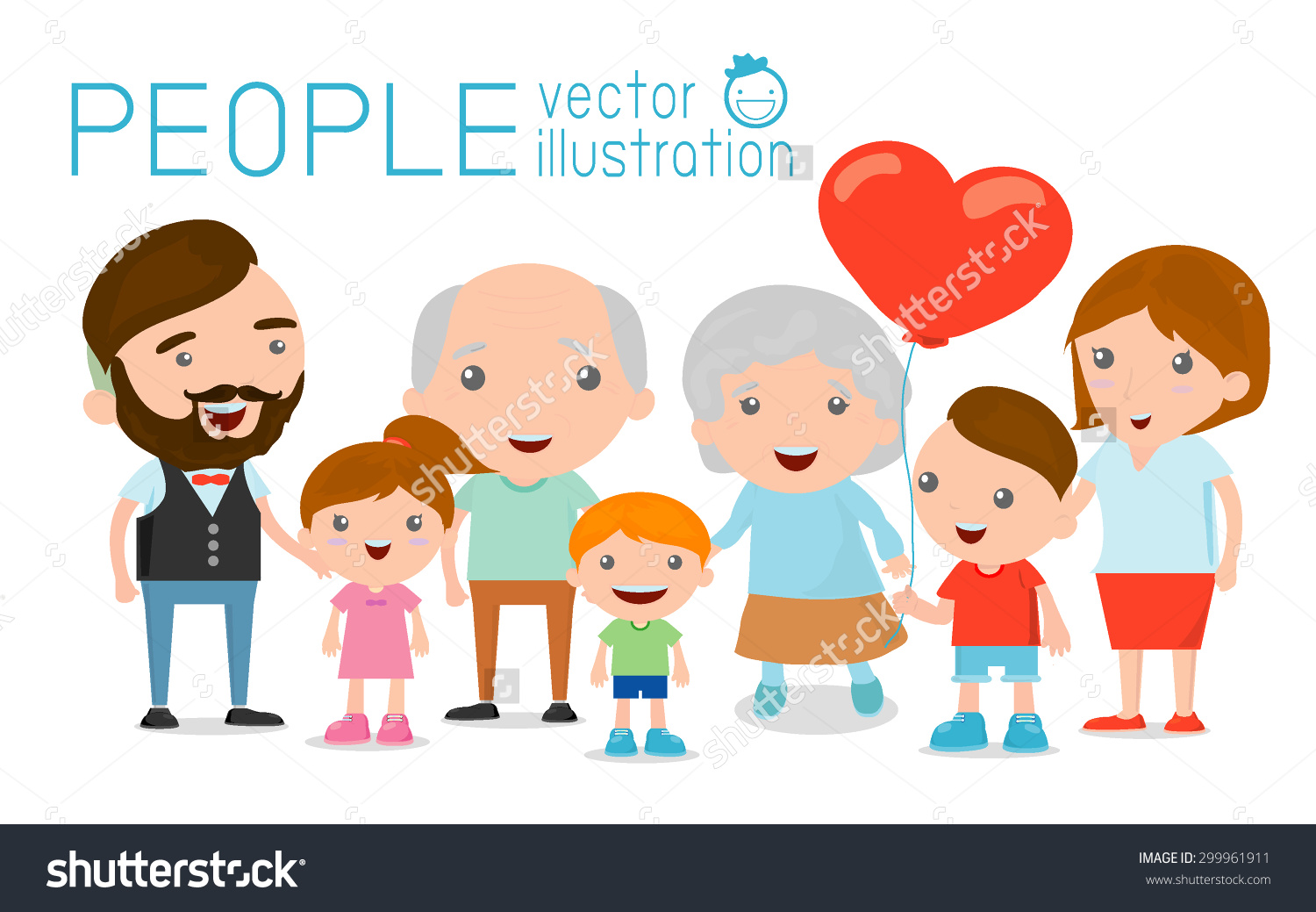 Family Group Portrait Parents Grandparents Children Stock Vector.