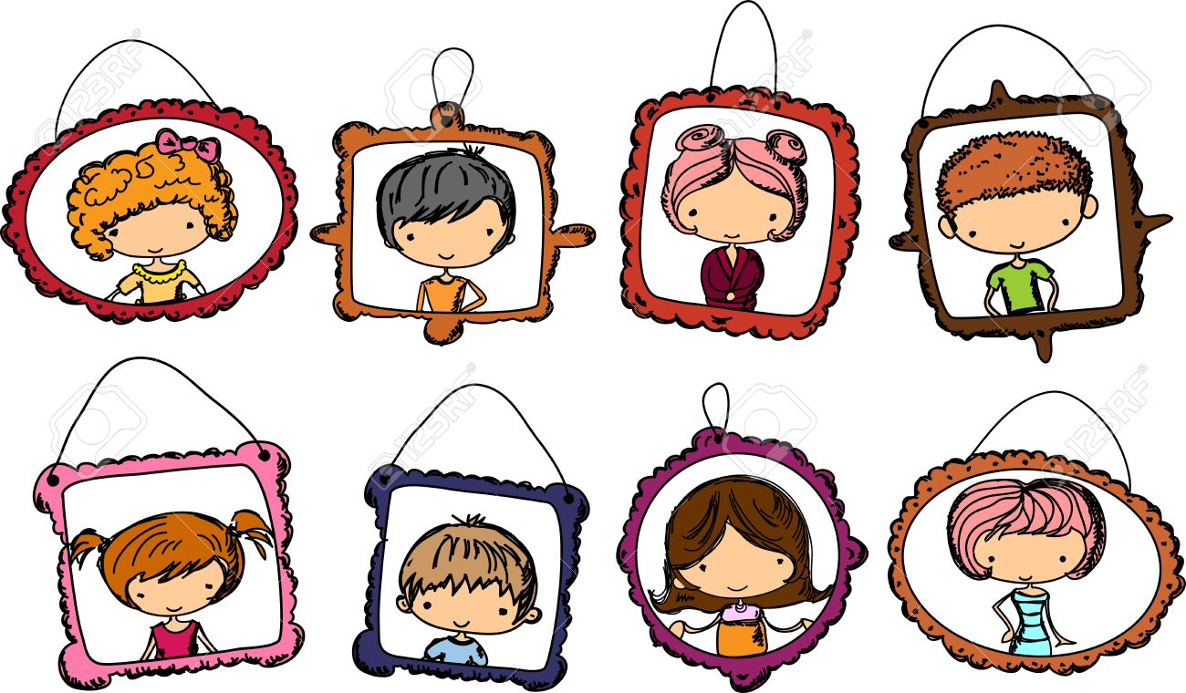 Portraits Of Children In The Frame Royalty Free Cliparts, Vectors.