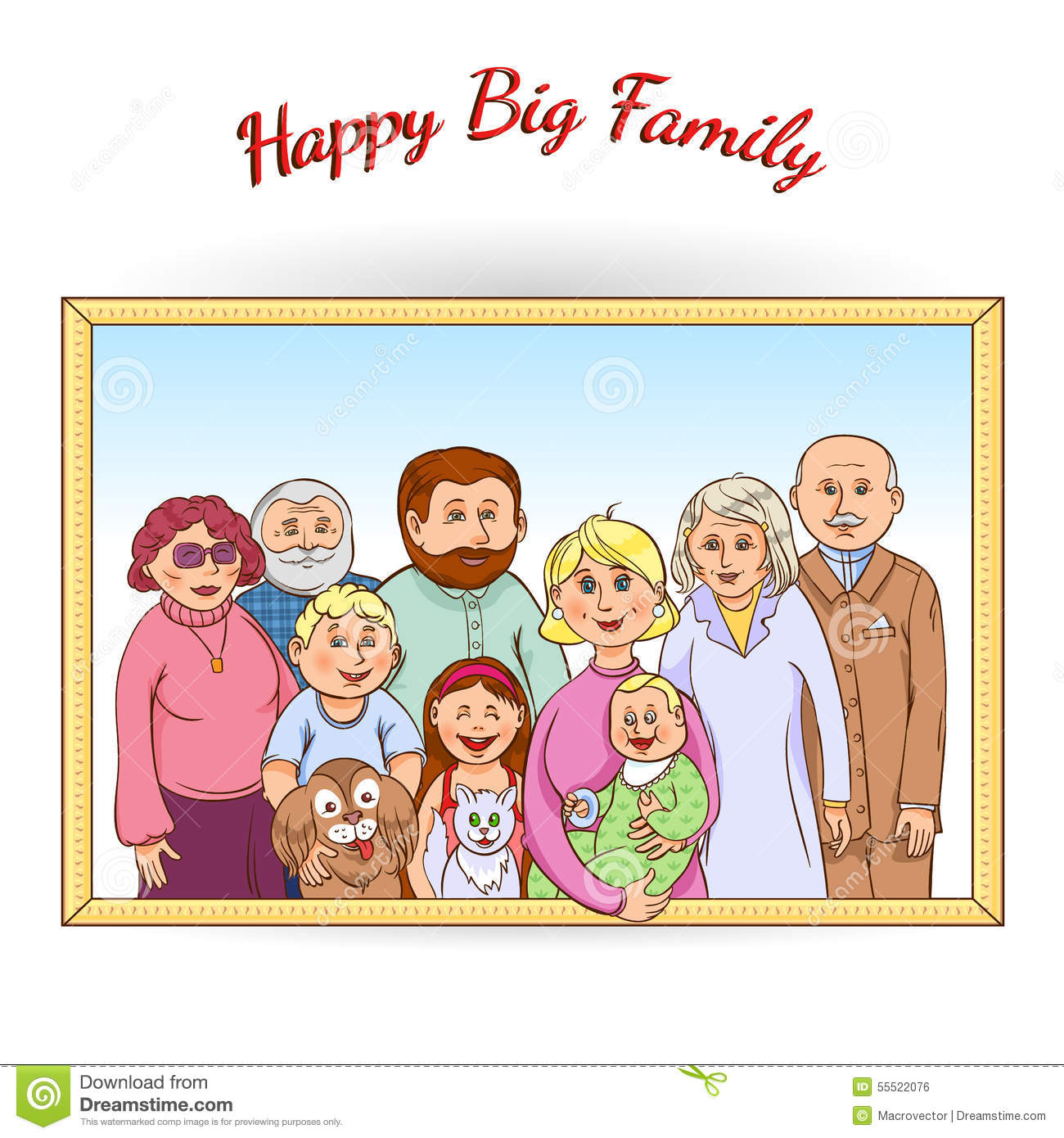 Happy Family Framed Portrait Stock Vector.