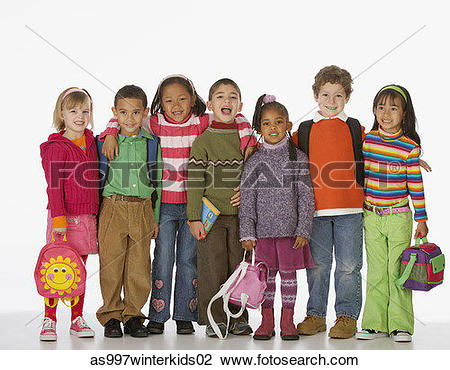 Stock Photo of Portrait of a group of children as997winterkids02.