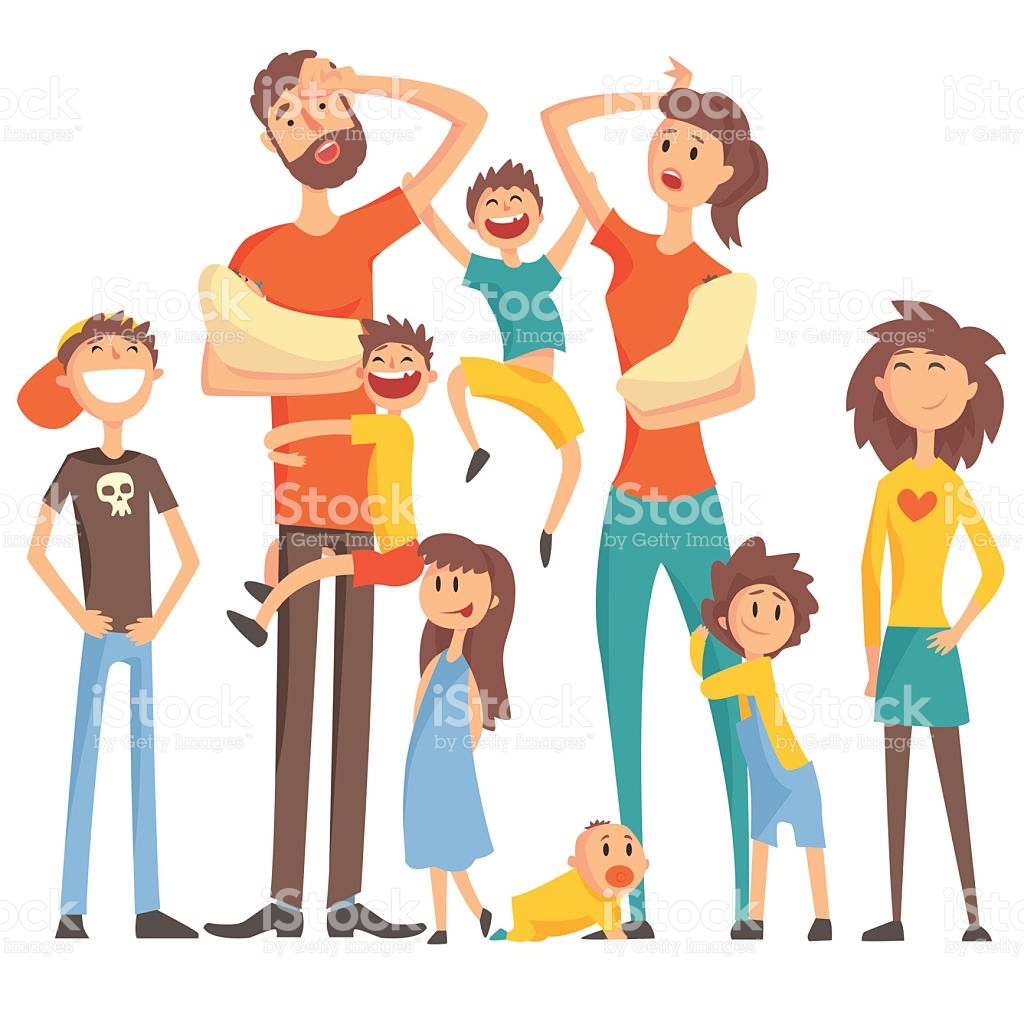 Happy Caucasian Family With Many Children Portrait stock vector.