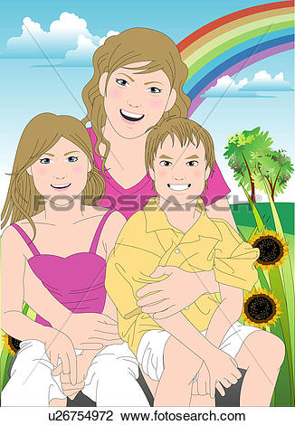Clip Art of Portrait of a mother with her children. u26754972.