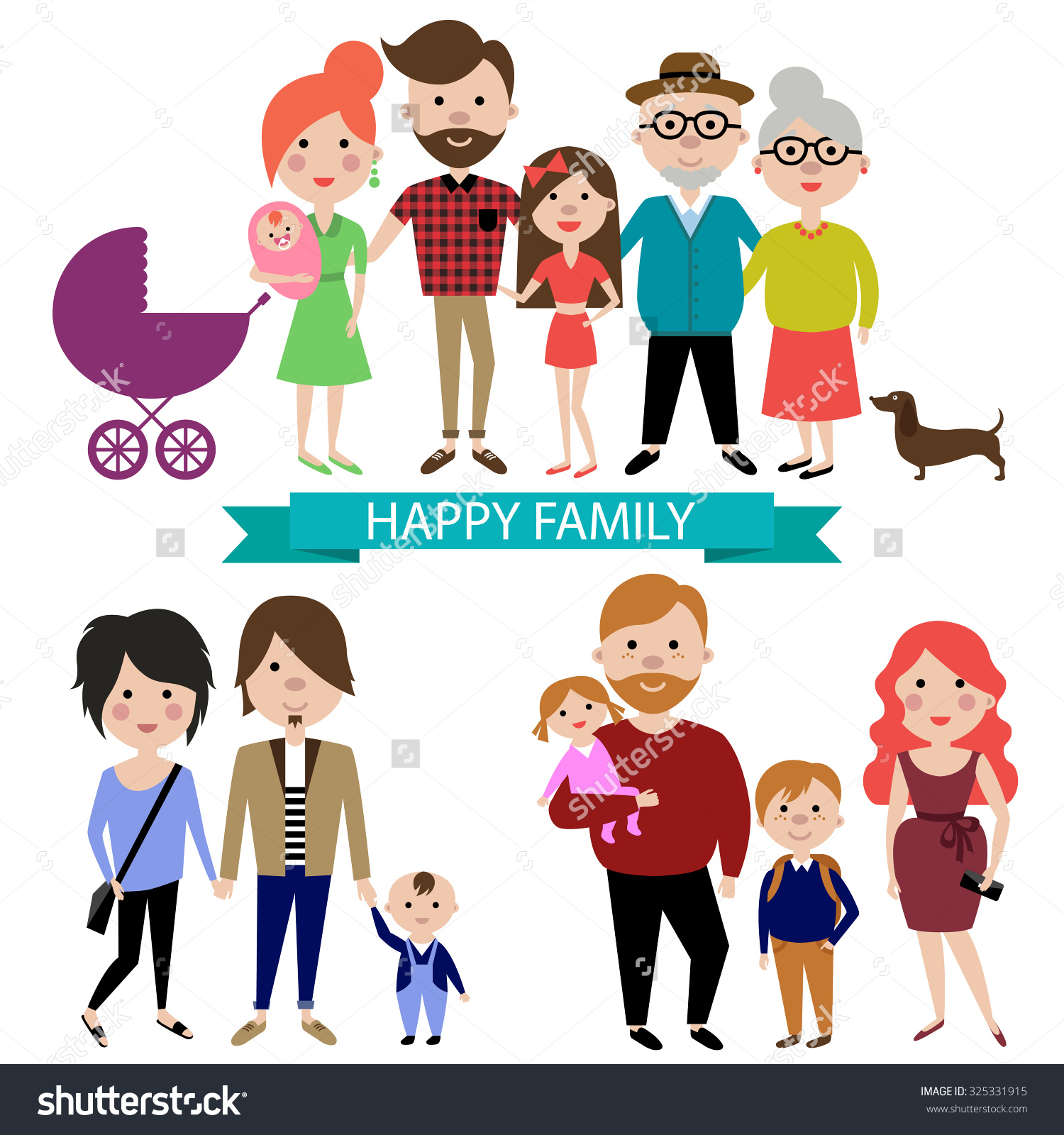 People Big Happy Family Portrait Parents Stock Vector 325331915.