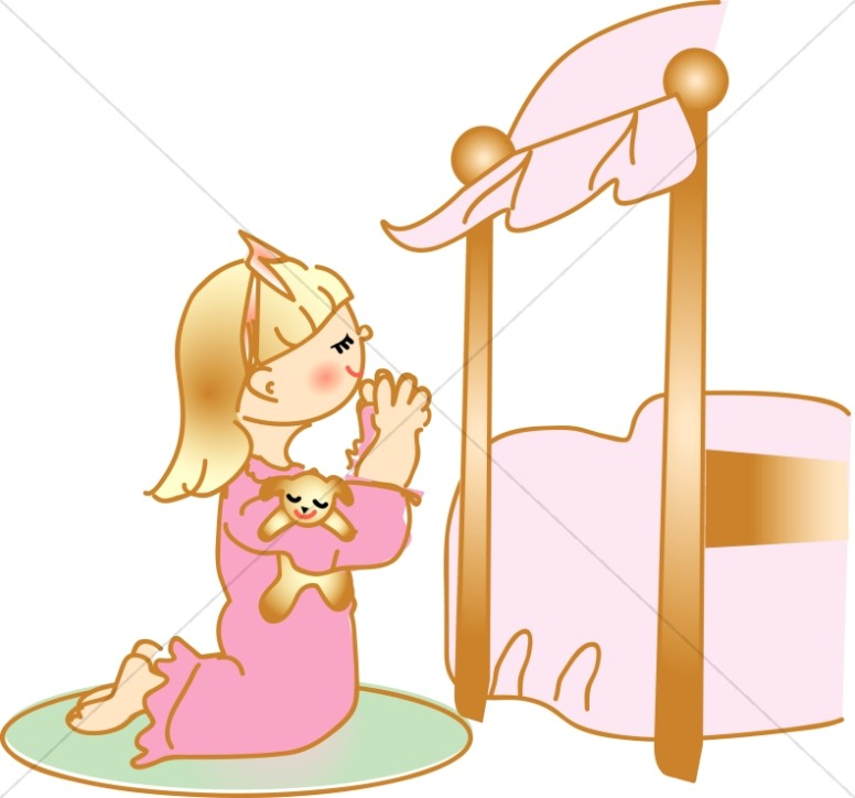 Praying Girl in Nightgown at Bedside.