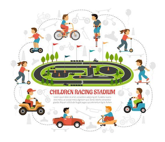 Children Racing Stadium Composition.