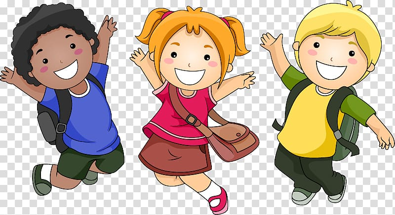 Cartoon Child , Black and white and yellow race children.