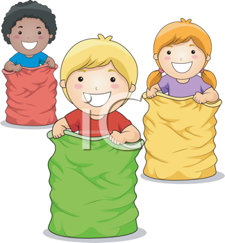 Royalty Free Clipart Image of a Group of Children in a Sack.