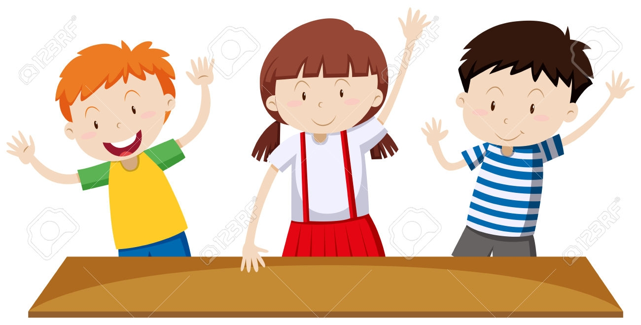Child With Hand Up Clipart.
