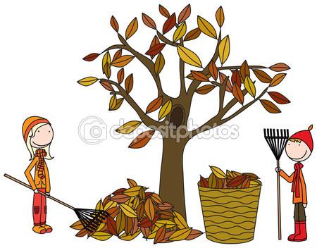 Raking leaves Stock Vectors, Royalty Free Raking leaves.