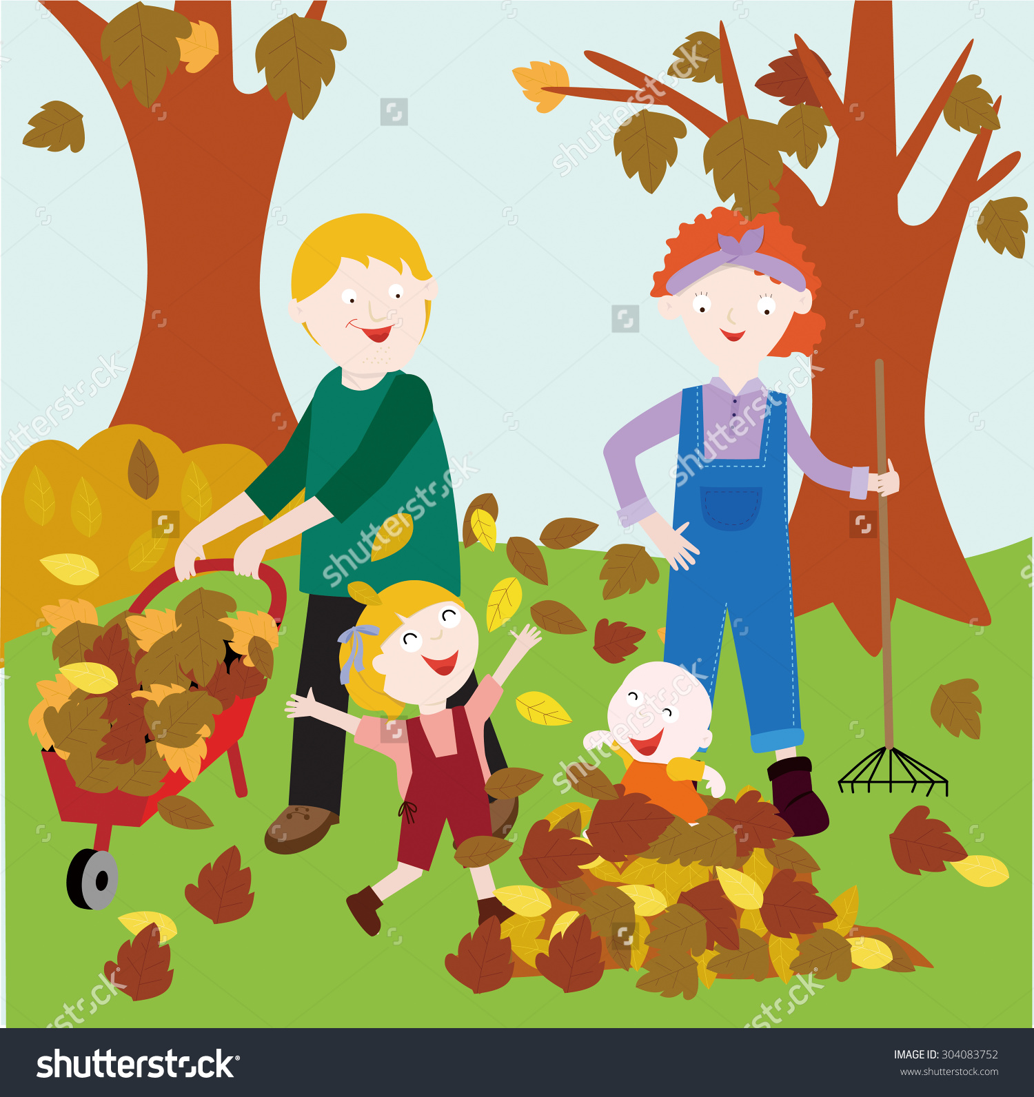 Picture Parents Their Two Children Playing Stock Vector 304083752.