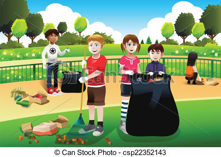 EPS Vector of Kids volunteering cleaning up the park.