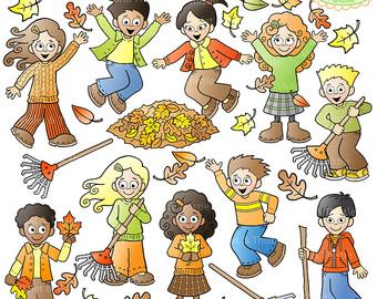 Fall Kids Clipart Kids Clip Art Children by VioletandThistle.