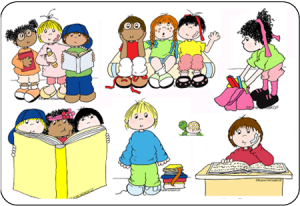 Children Reading And Writing Clipart.