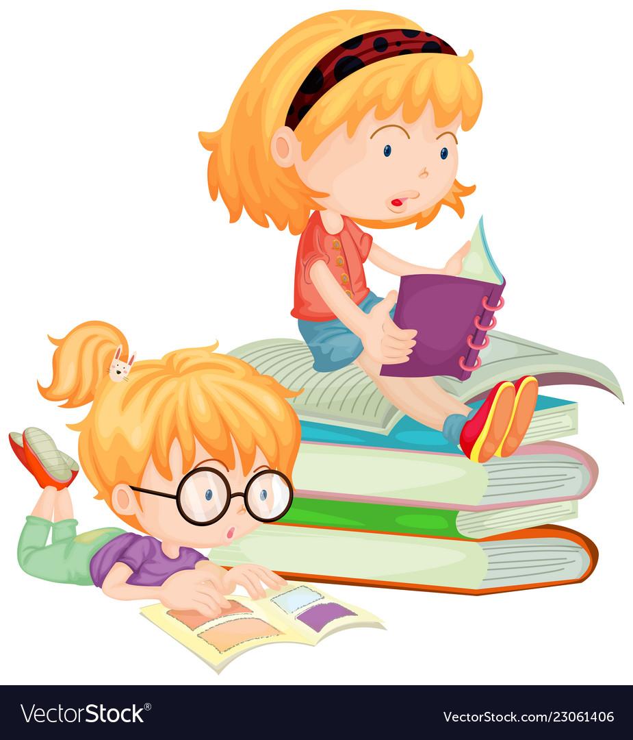 Two children reading books in school.