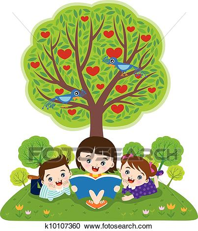 Children reading books Clipart.