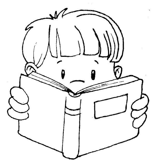 Boy Reading Clipart Black And White.
