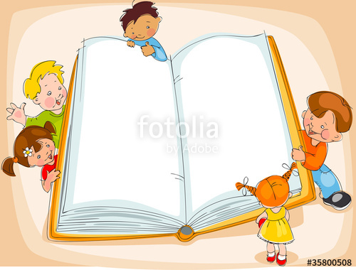 children reading a book. Banner