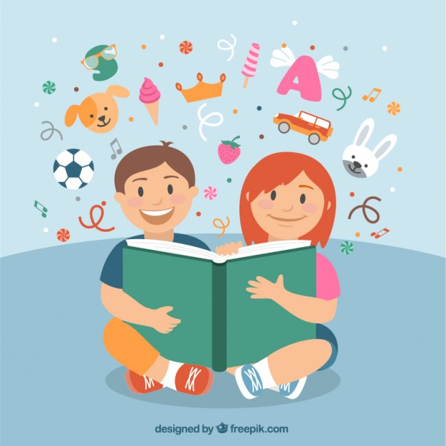 Happy children reading a book Vector.
