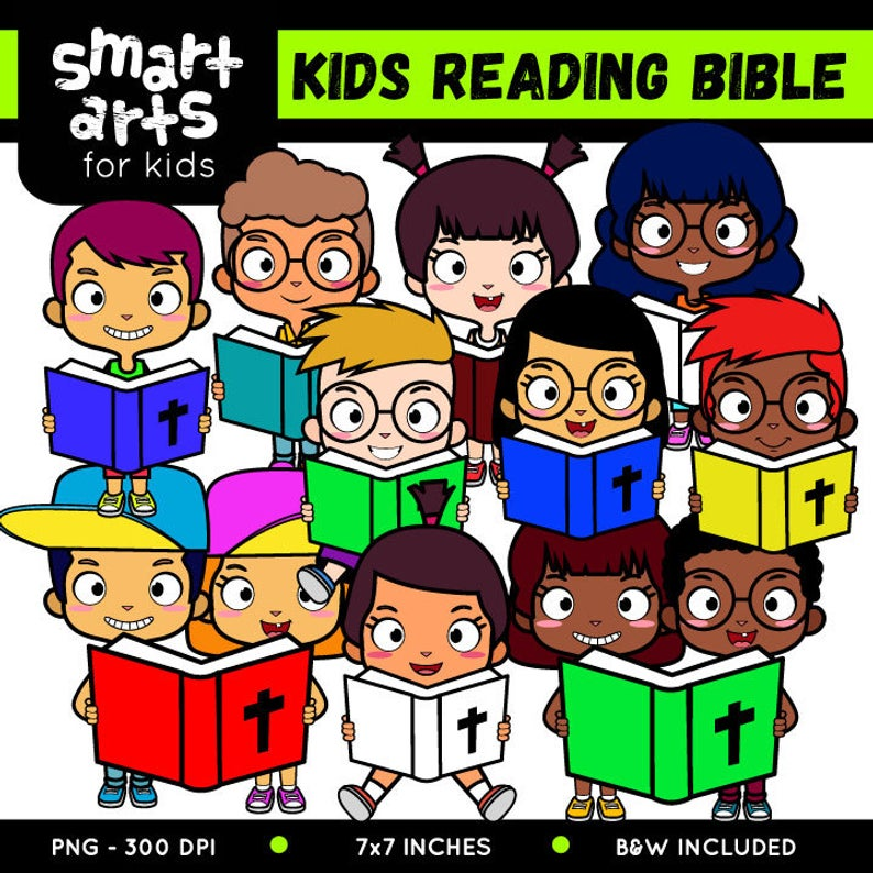 Kids Reading Bible Clip Art.