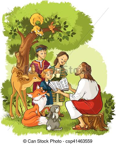 Jesus reading the Bible to children and animals.