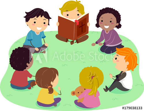 Stickman Kids Bible Reading Illustration.