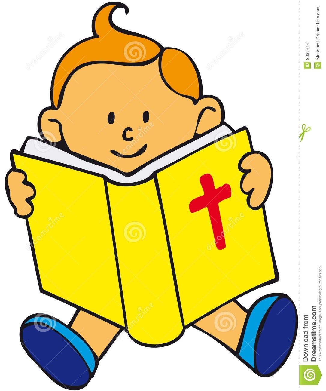 Children Reading Bible Clipart.