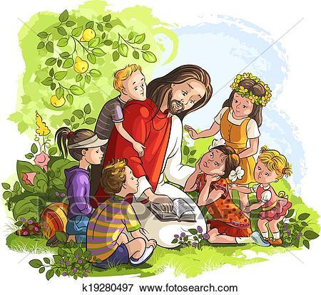 Jesus reading Bible with Children Clip Art.