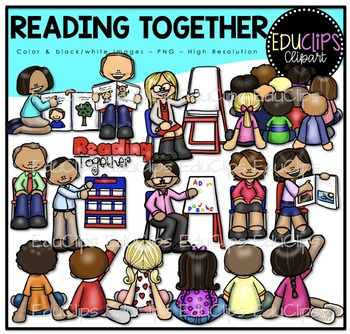 Reading Together Clip Art Bundle {Educlips Clipart}.