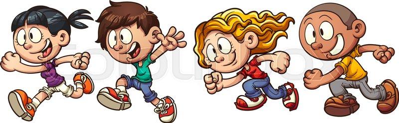 Cartoon running kids. Vector clip art.