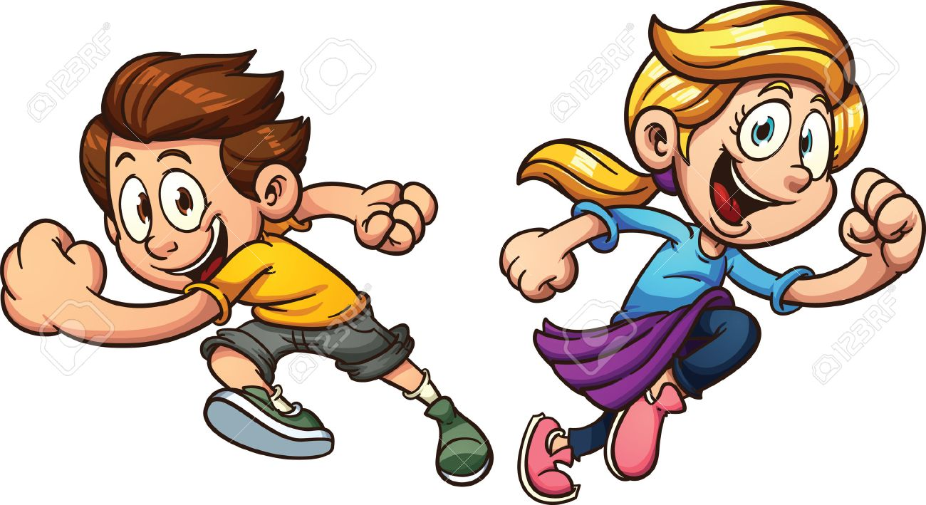 Kids happily running. Vector clip art illustration with simple...